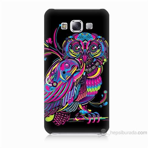 Teknomeg Samsung Galaxy E5 Kapak Kılıf Renkli Baykuş Baskılı Silikon