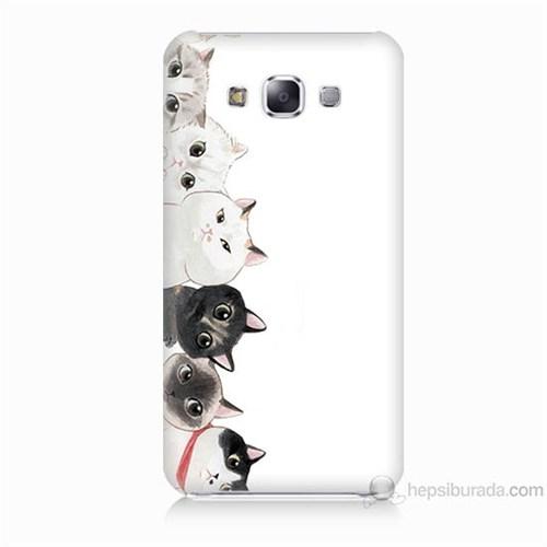 Teknomeg Samsung Galaxy E5 Kapak Kılıf Kediler Baskılı Silikon