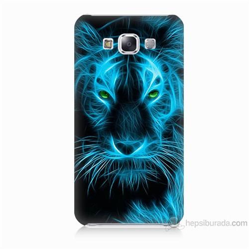 Teknomeg Samsung Galaxy E5 Kapak Kılıf Mavi Kaplan Baskılı Silikon