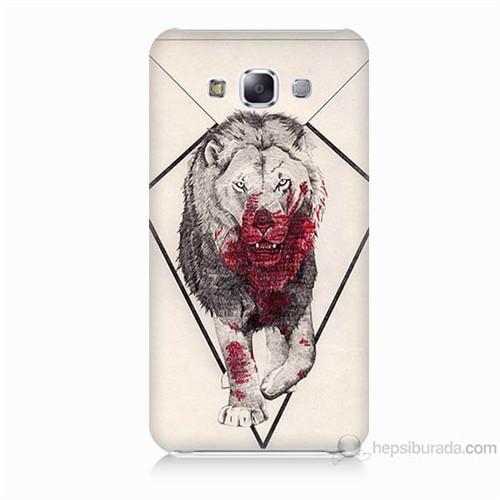 Teknomeg Samsung Galaxy E5 Kapak Kılıf Kanlı Aslan Baskılı Silikon