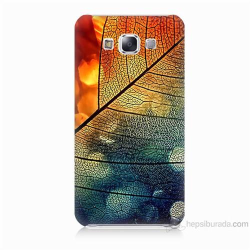 Teknomeg Samsung Galaxy E5 Kapak Kılıf Yaprak Baskılı Silikon