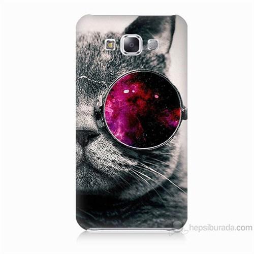 Teknomeg Samsung Galaxy E5 Kapak Kılıf Kedi Baskılı Silikon