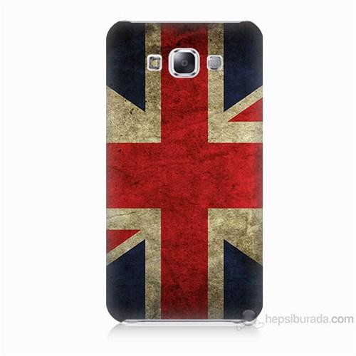 Teknomeg Samsung Galaxy E5 Kapak Kılıf İngiltere Bayrağı Baskılı Silikon