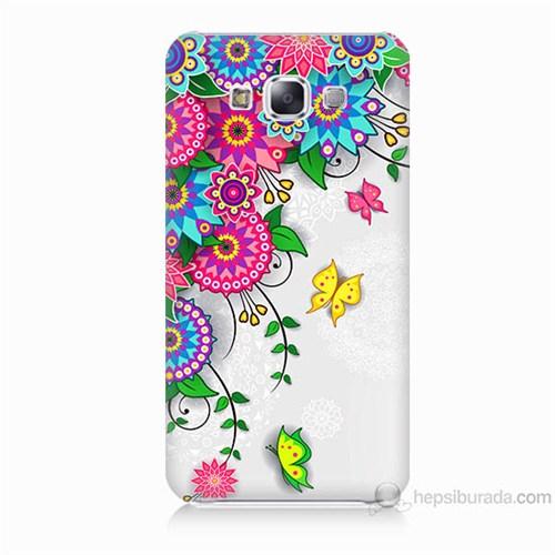 Teknomeg Samsung Galaxy E5 Kapak Kılıf Çiçek Ve Kelebek Baskılı Silikon