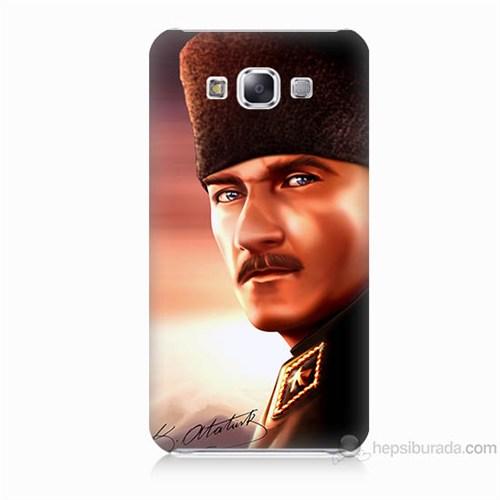Teknomeg Samsung Galaxy E5 Kapak Kılıf Mustafa Kemal Baskılı Silikon