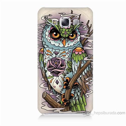 Teknomeg Samsung Galaxy E5 Kapak Kılıf Çiçekli Baykuş Baskılı Silikon