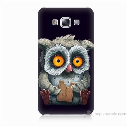 Teknomeg Samsung Galaxy E5 Kapak Kılıf Yavru Baykuş Baskılı Silikon