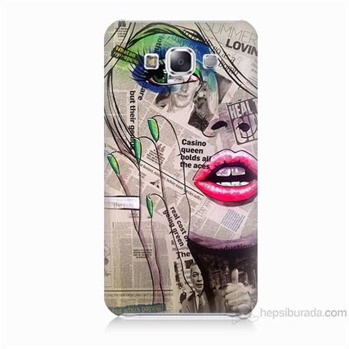 Teknomeg Samsung Galaxy E5 Kapak Kılıf Gazete Kadın Baskılı Silikon