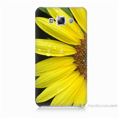 Teknomeg Samsung Galaxy E5 Kapak Kılıf Sarı Çiçek Baskılı Silikon