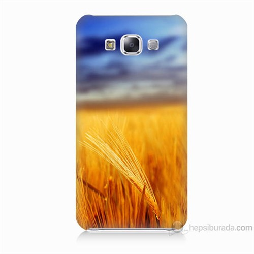 Teknomeg Samsung Galaxy E5 Kapak Kılıf Sarı Mavi Baskılı Silikon