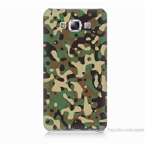 Teknomeg Samsung Galaxy E5 Kapak Kılıf Askeri Kamuflaj Baskılı Silikon