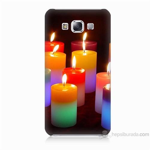 Teknomeg Samsung Galaxy E5 Kapak Kılıf Mumlar Baskılı Silikon