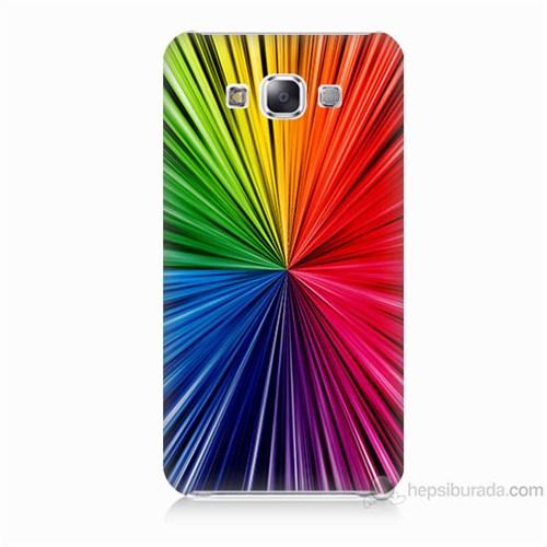 Teknomeg Samsung Galaxy E5 Kapak Kılıf Renkler Baskılı Silikon