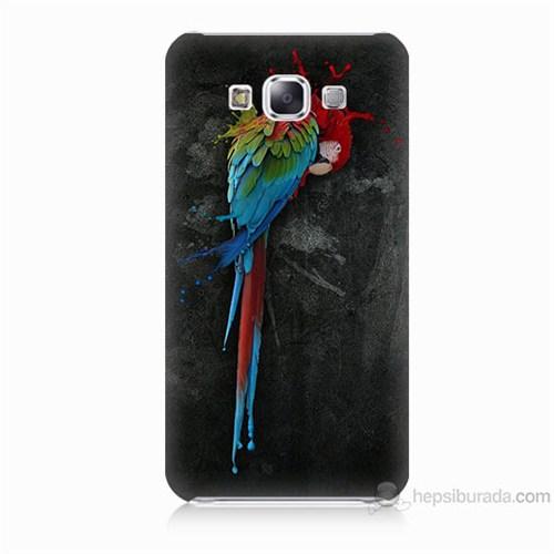 Teknomeg Samsung Galaxy E5 Kapak Kılıf Papağan Baskılı Silikon