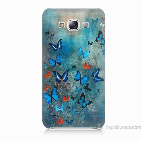 Teknomeg Samsung Galaxy E7 Kapak Kılıf Kelebekler Baskılı Silikon