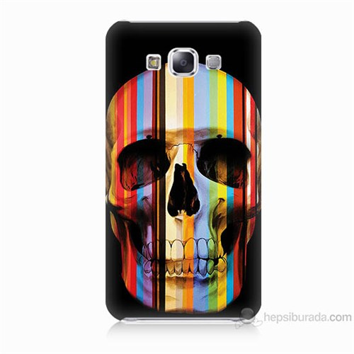 Teknomeg Samsung Galaxy E7 Kapak Kılıf Renkli Kurukafa Baskılı Silikon