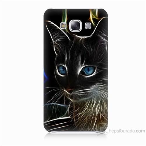 Teknomeg Samsung Galaxy E7 Kapak Kılıf Dumanlı Kedi Baskılı Silikon