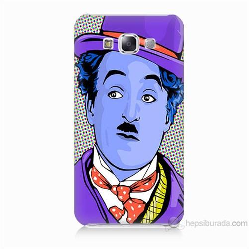 Teknomeg Samsung Galaxy E7 Kapak Kılıf Charlie Chaplin Baskılı Silikon