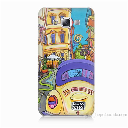 Teknomeg Samsung Galaxy E7 Kapak Kılıf Sarı Wolsvagen Baskılı Silikon