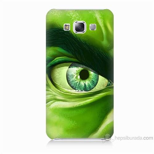 Teknomeg Samsung Galaxy E7 Kapak Kılıf Hulk Yeşil Dev Baskılı Silikon