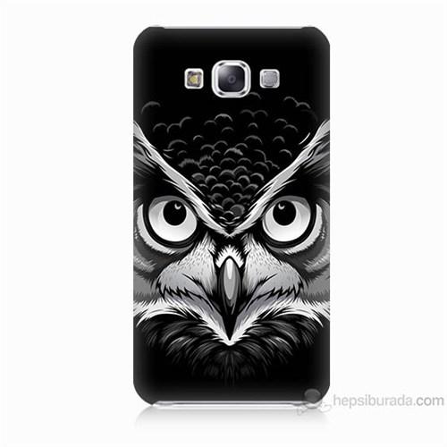 Teknomeg Samsung Galaxy E7 Kapak Kılıf Baykuş Baskılı Silikon