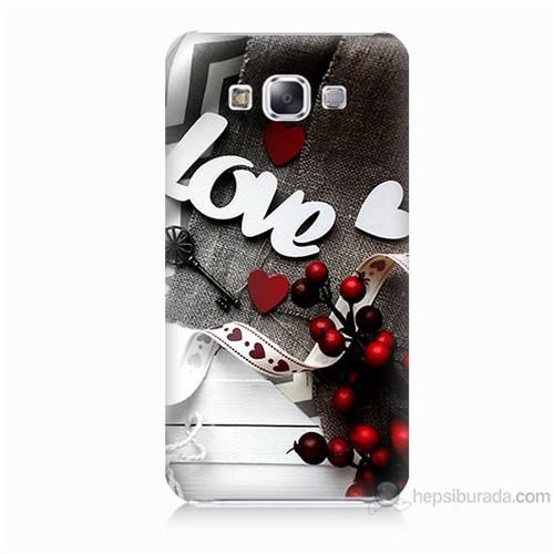 Teknomeg Samsung Galaxy E7 Kapak Kılıf Love Baskılı Silikon