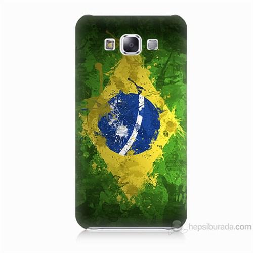 Teknomeg Samsung Galaxy E7 Kapak Kılıf Birezilya Bayrak Baskılı Silikon