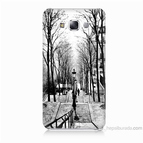 Teknomeg Samsung Galaxy E7 Kapak Kılıf Siyah Beyaz Baskılı Silikon