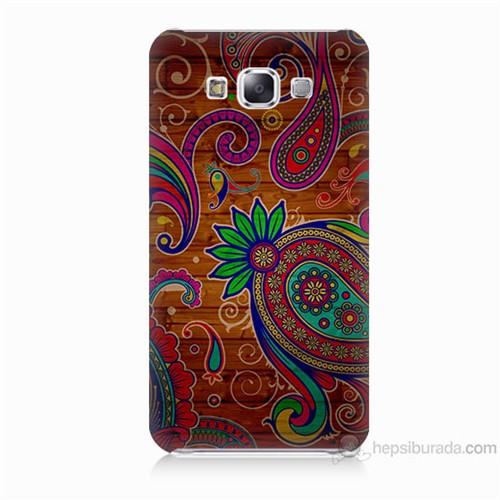 Teknomeg Samsung Galaxy E7 Kapak Kılıf Çiçek Deseni Baskılı Silikon