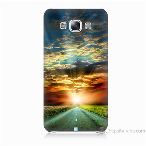 Teknomeg Samsung Galaxy E7 Kapak Kılıf Yol Baskılı Silikon