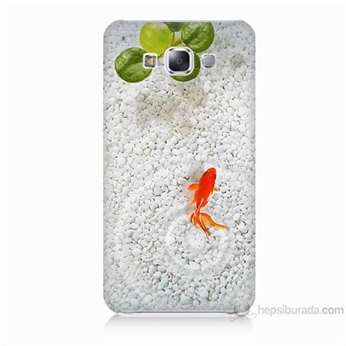 Teknomeg Samsung Galaxy E7 Kapak Kılıf Kırmızı Balık Baskılı Silikon