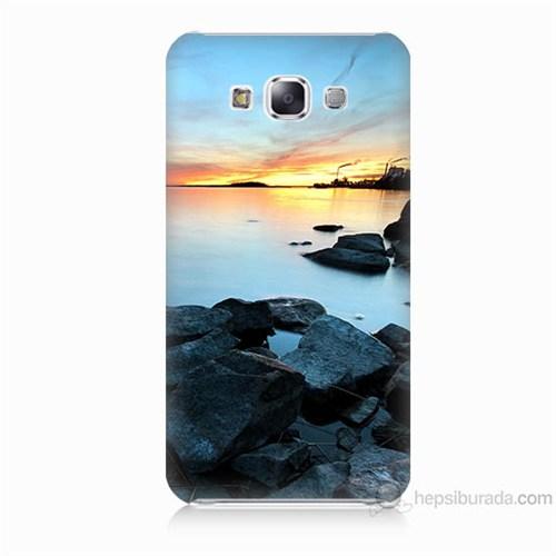 Teknomeg Samsung Galaxy E7 Kapak Kılıf Kayalık Baskılı Silikon