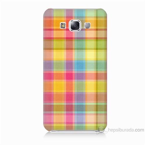 Teknomeg Samsung Galaxy E7 Kapak Kılıf Ekose Baskılı Silikon