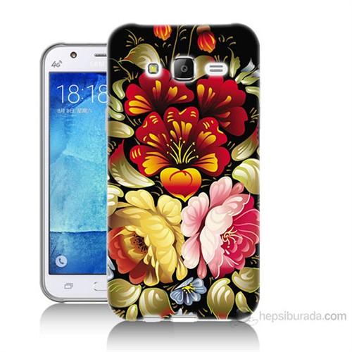 Teknomeg Samsung Galaxy J7 Kılıf Kapak Çiçekler Baskılı Silikon