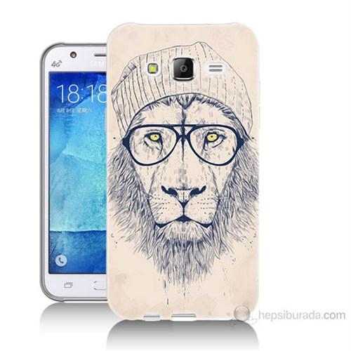 Teknomeg Samsung Galaxy J7 Kılıf Kapak Gözlüklü Aslan Baskılı Silikon