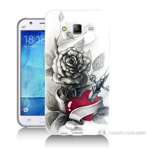 Teknomeg Samsung Galaxy J7 Kapak Kılıf Hançerli Kalp Baskılı Silikon