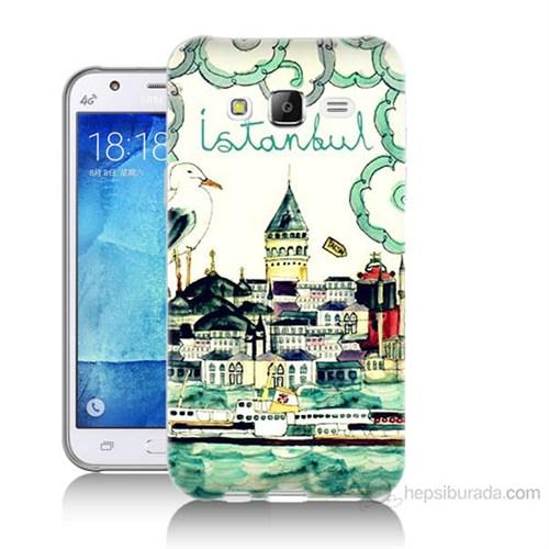 Teknomeg Samsung Galaxy J7 Kapak Kılıf Galata Manzarası Baskılı Silikon