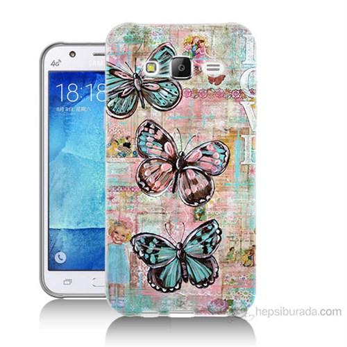 Teknomeg Samsung Galaxy J7 Kapak Kılıf Kelebek Love Baskılı Silikon