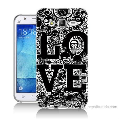 Teknomeg Samsung Galaxy J7 Kapak Kılıf Love Baskılı Silikon