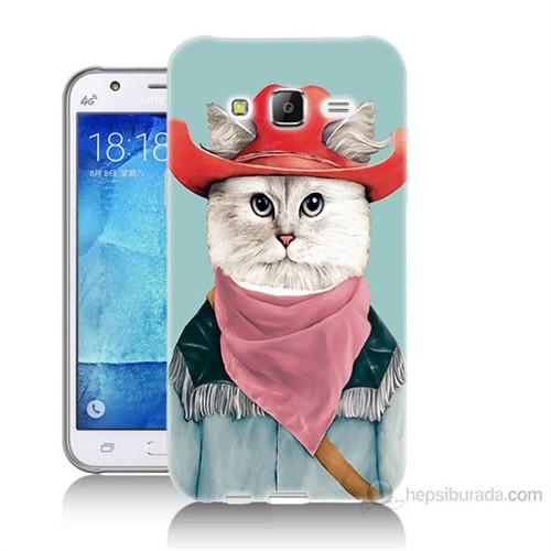 Teknomeg Samsung Galaxy J7 Kapak Kılıf Çizmeli Kedi Baskılı Silikon