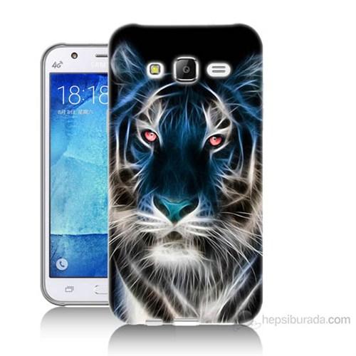 Teknomeg Samsung Galaxy J7 Kapak Kılıf Dumanlı Aslan Baskılı Silikon