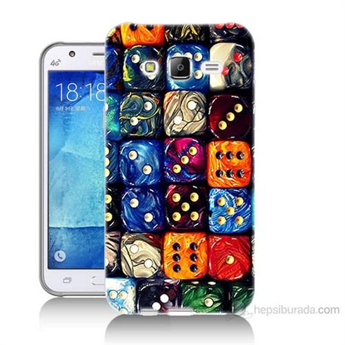 Teknomeg Samsung Galaxy J7 Kapak Kılıf Zarlar Baskılı Silikon