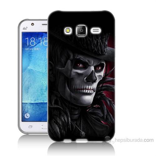 Teknomeg Samsung Galaxy J7 Kapak Kılıf Kuru Kafa Baskılı Silikon