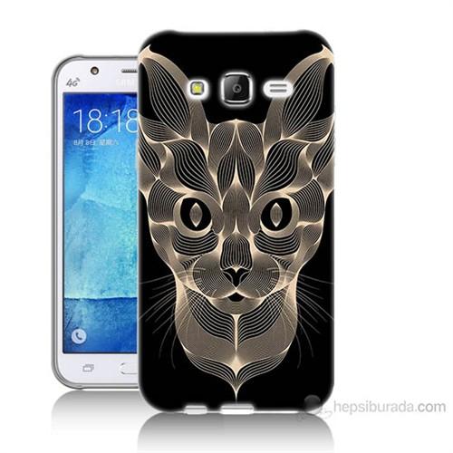 Teknomeg Samsung Galaxy J7 Kapak Kılıf Digital Kedi Baskılı Silikon