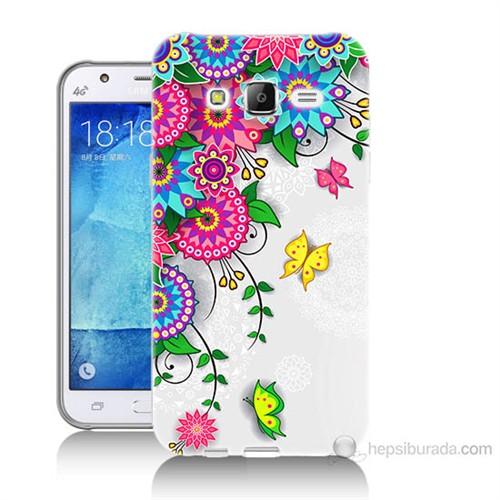 Teknomeg Samsung Galaxy J7 Kapak Kılıf Çiçek Ve Kelebek Baskılı Silikon