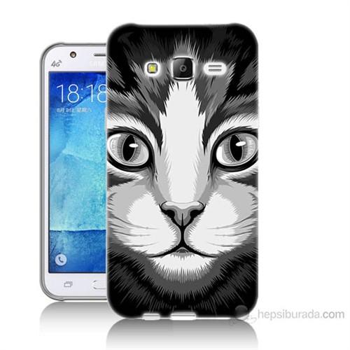 Teknomeg Samsung Galaxy J7 Kapak Kılıf Kedicik Baskılı Silikon