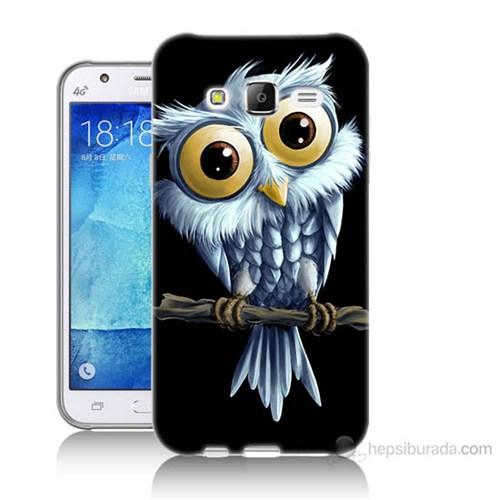 Teknomeg Samsung Galaxy J7 Kapak Kılıf Beyaz Baykuş Baskılı Silikon
