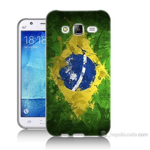Teknomeg Samsung Galaxy J7 Kapak Kılıf Birezilya Bayrak Baskılı Silikon