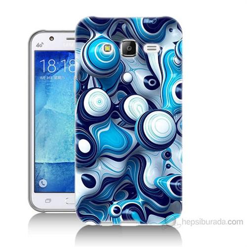 Teknomeg Samsung Galaxy J7 Kapak Kılıf Derin Mavi Baskılı Silikon