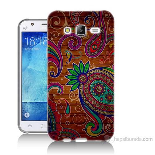 Teknomeg Samsung Galaxy J7 Kapak Kılıf Çiçek Deseni Baskılı Silikon